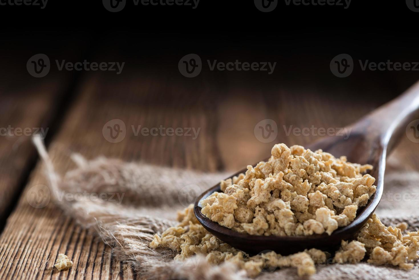 Portion of Soy Meat (on wood) photo