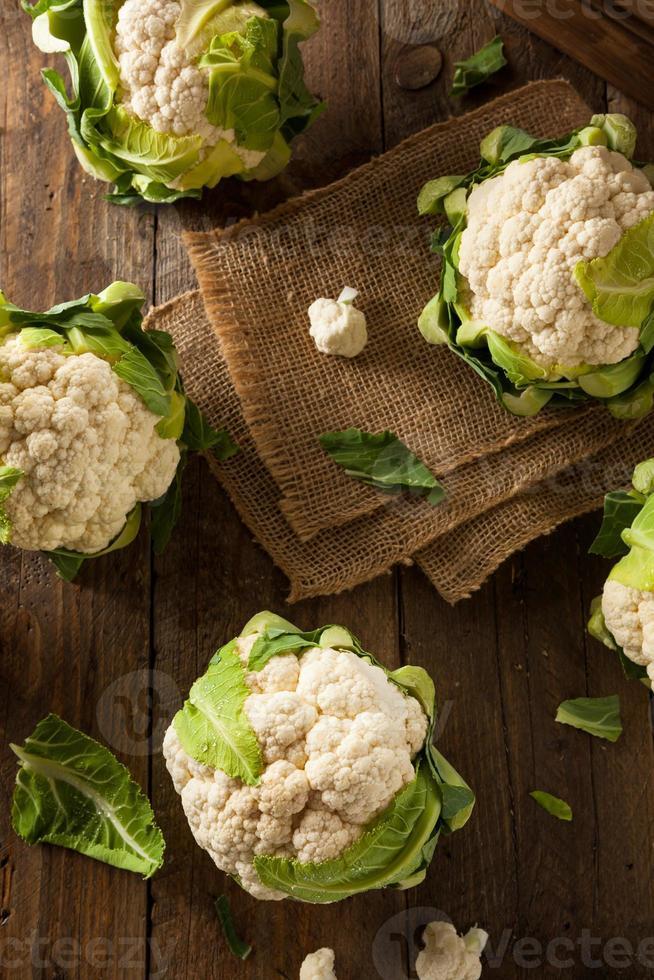Raw Organic Cauliflower Heads photo