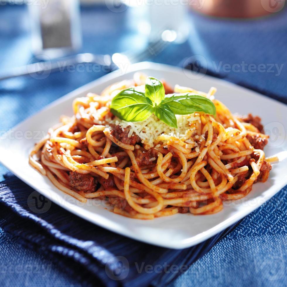 spaghetti in bolognese sauce photo