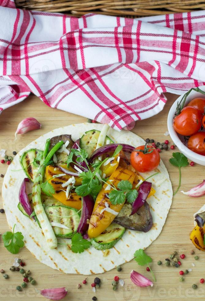 Tortilla and grilled vegetables photo