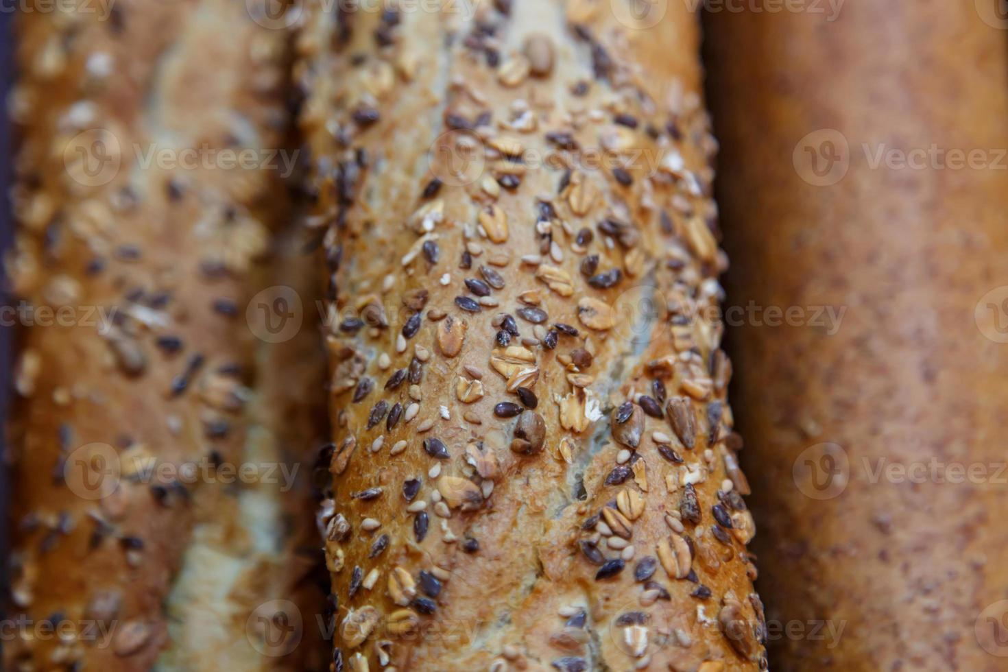 French cereal breads and baguette photo