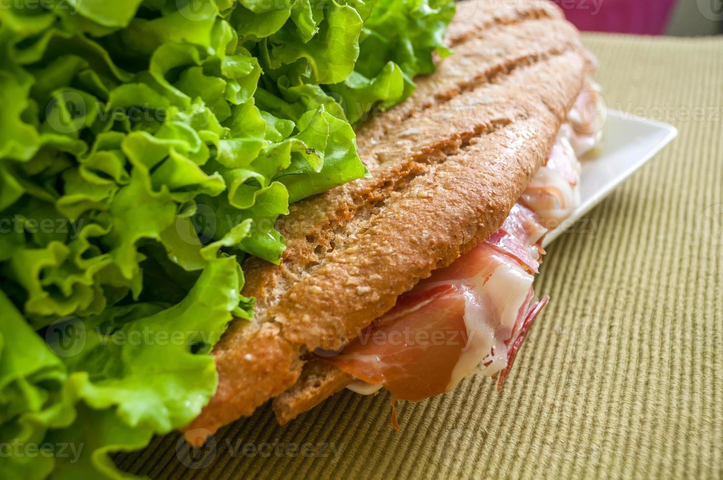sandwich with ham bocadillo photo