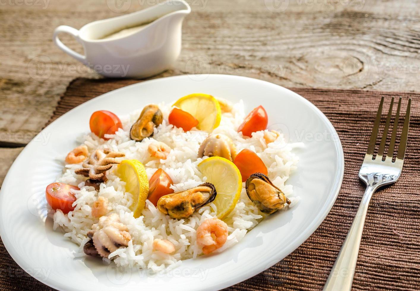 arroz basmati con mariscos foto