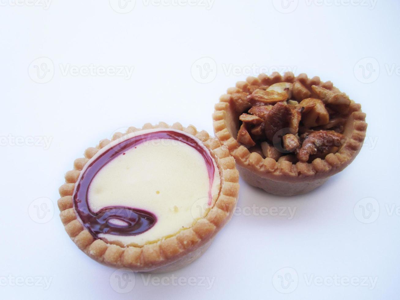 raspberry jam tart and cashew nut tart photo