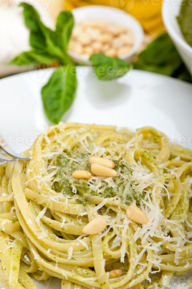 Italian traditional basil pesto pasta ingredients photo