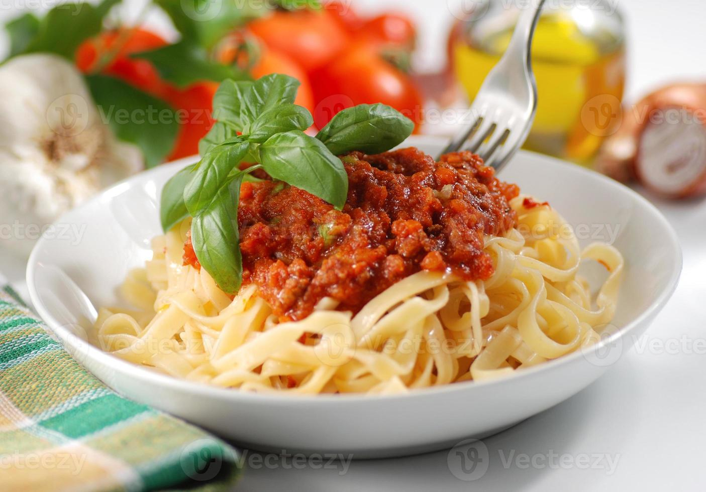 tagliatelle with meat sauce photo