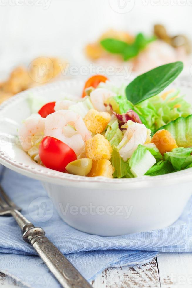 Healthy salad with shrimps photo
