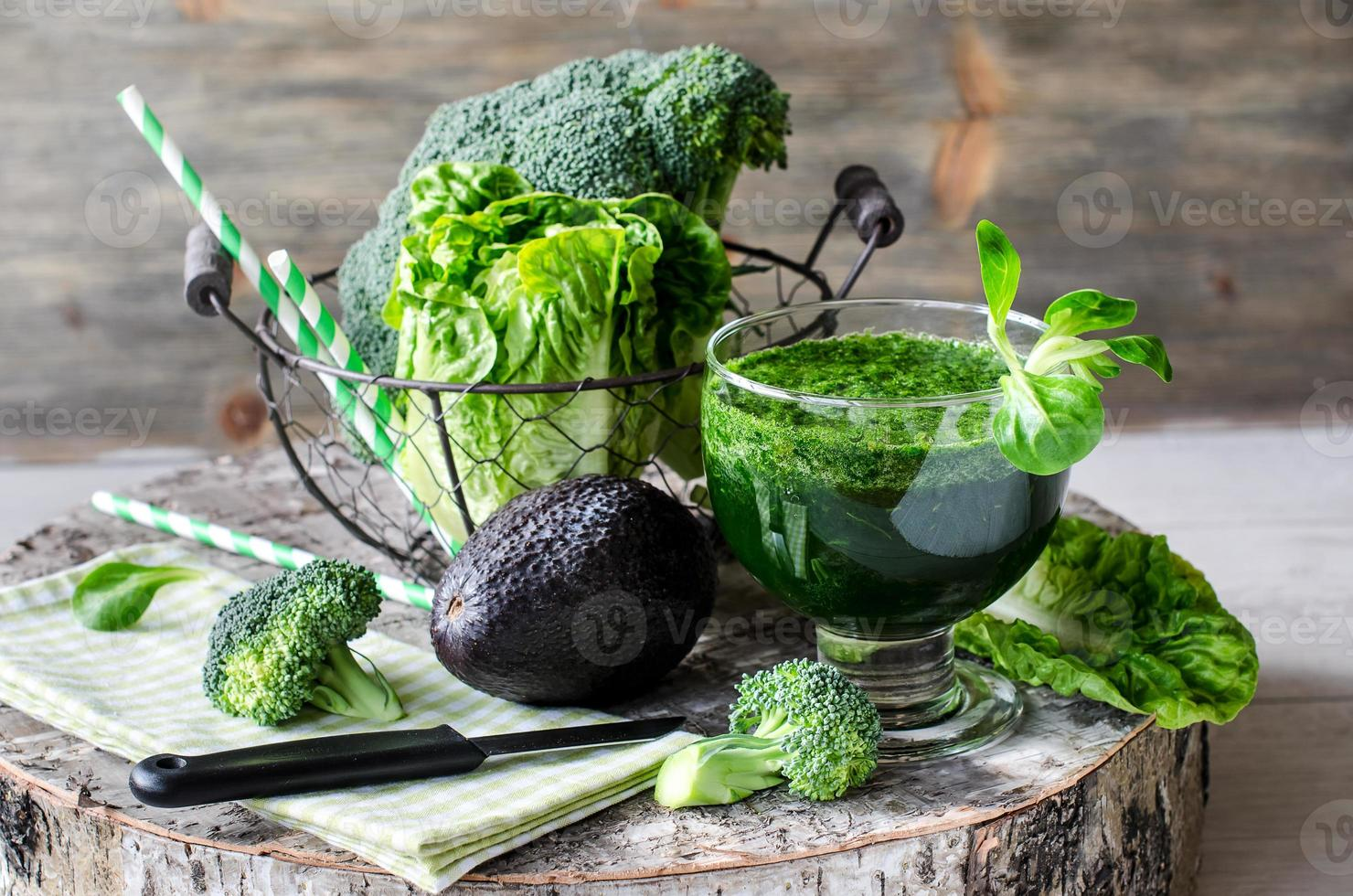 Green smoothie with avocado and broccoli horizontal photo