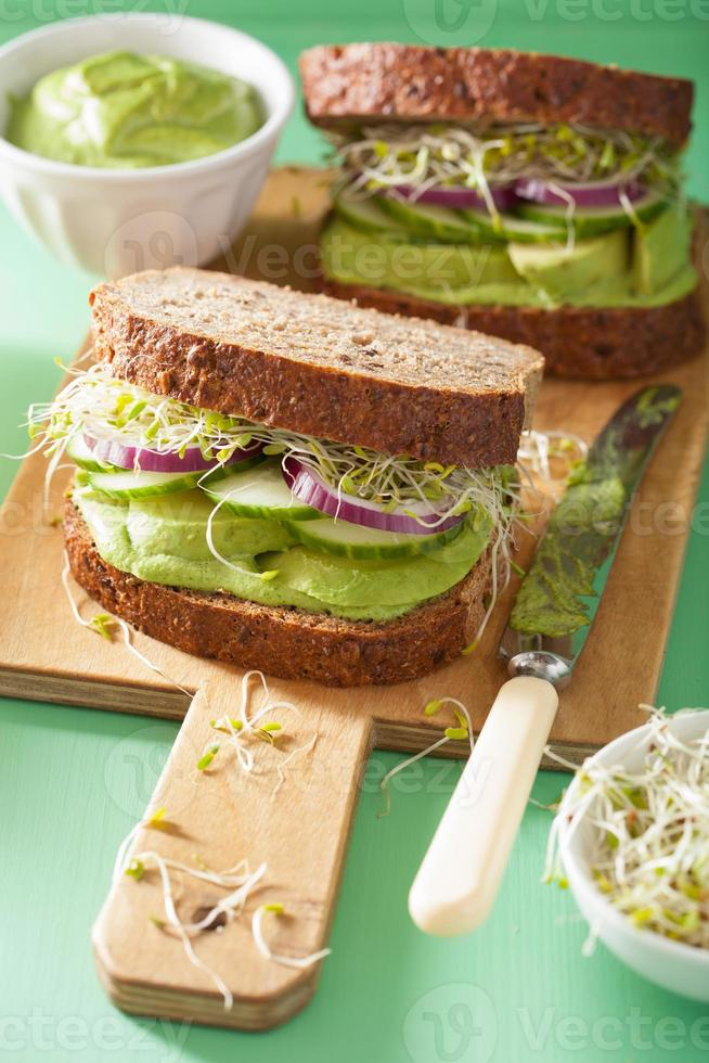 healthy avocado sandwich with cucumber alfalfa sprouts onion photo
