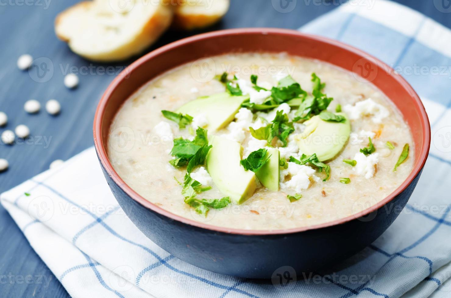 White beans chicken soup photo