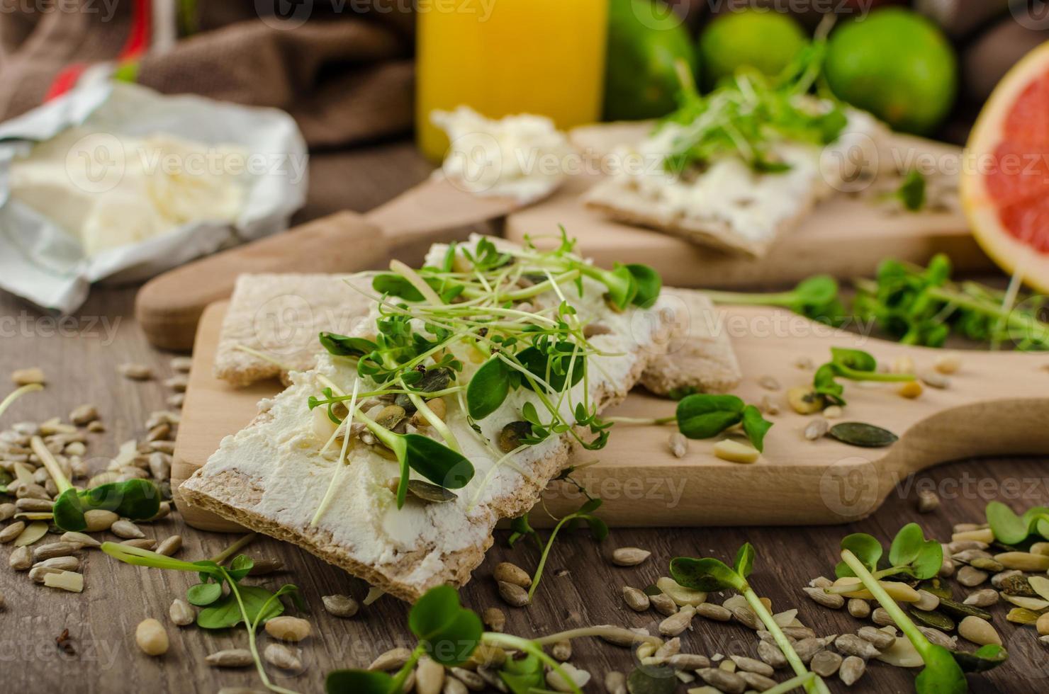 Healthy breakfast, Crispbread with organic cream cheese photo
