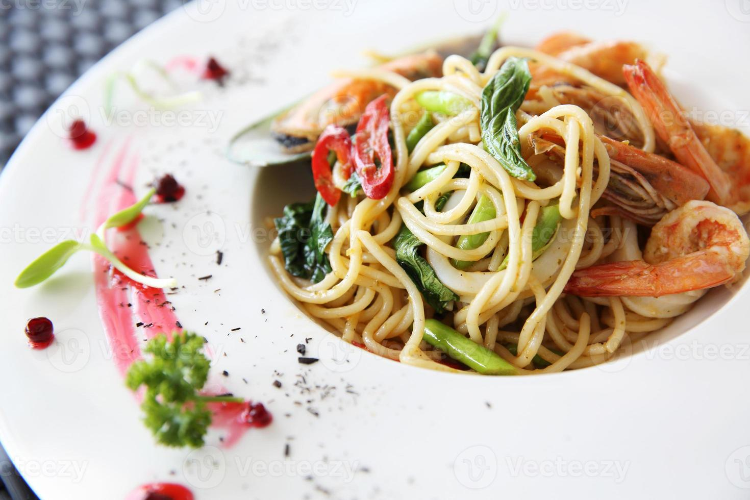 mariscos espaguetis foto