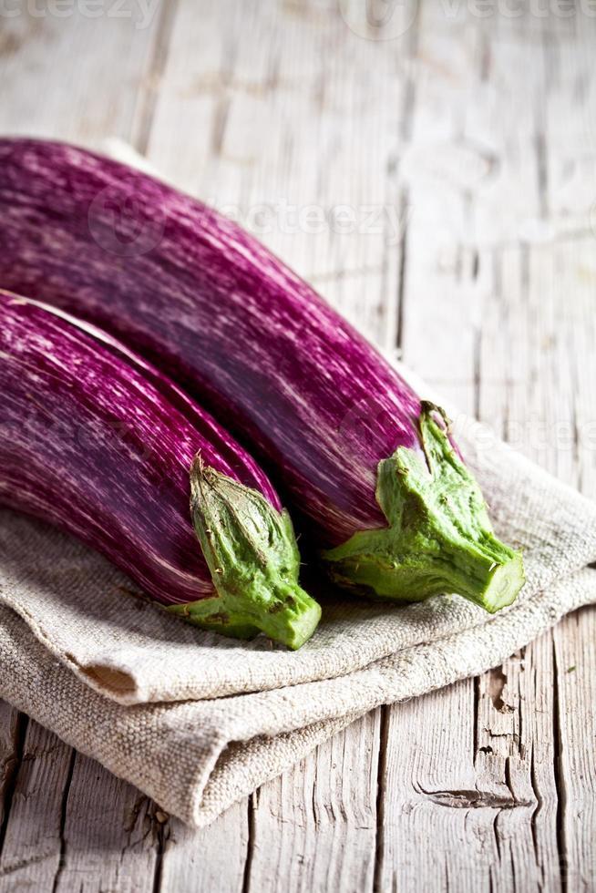 two fresh eggplants photo