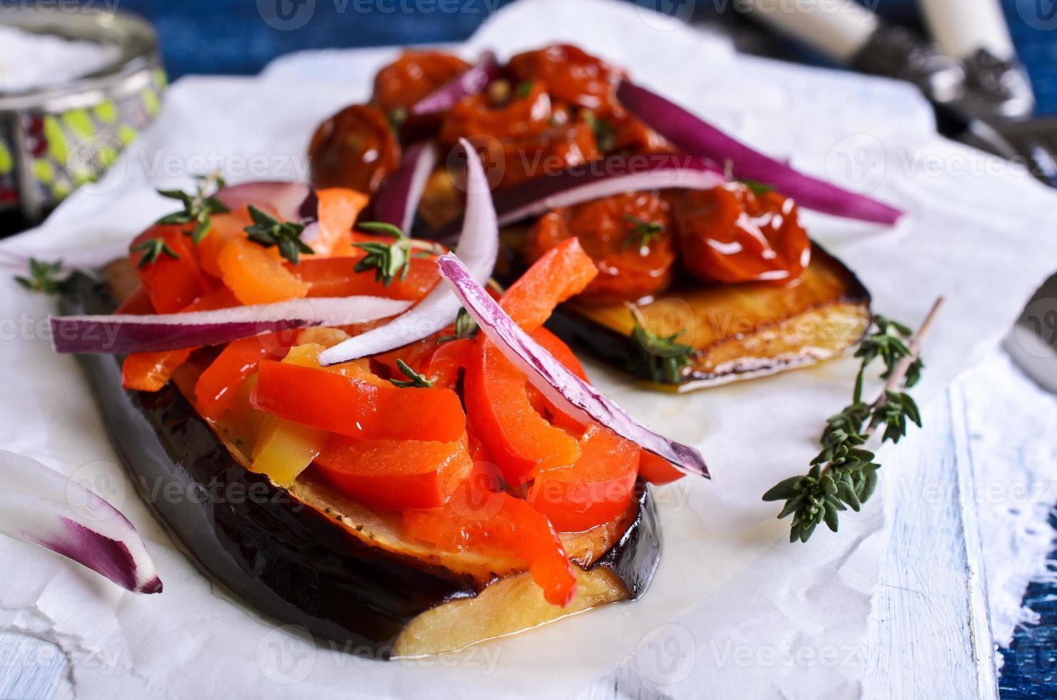Eggplant with vegetables photo
