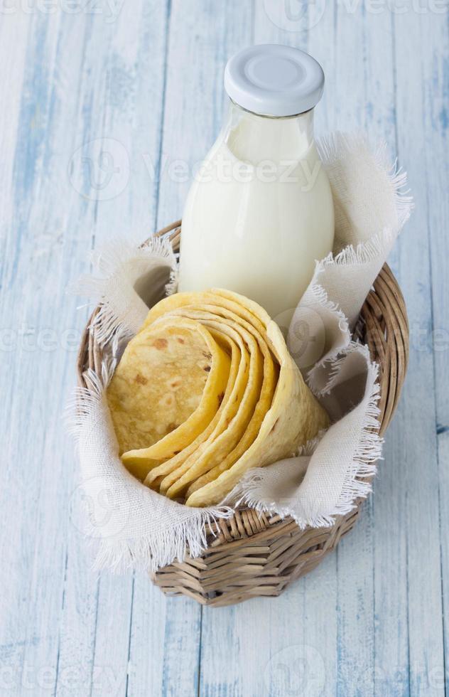 tortilla in rieten mand foto