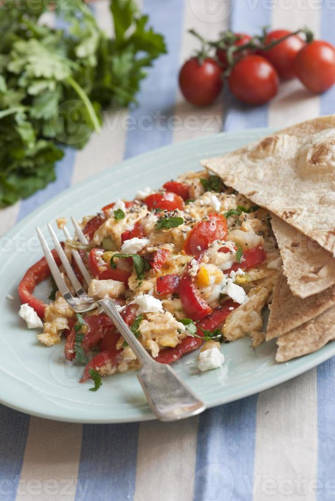 Scrambled eggs with tortillas photo