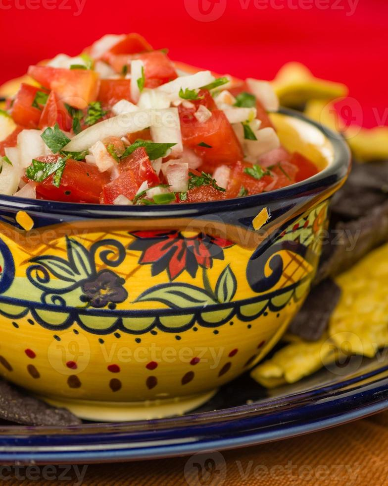 Bowl of spicy salsa and corn chips photo