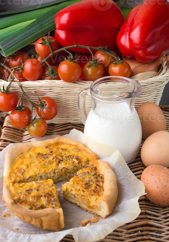Onion pie, eggs and milk - a traditional village Breakfast photo