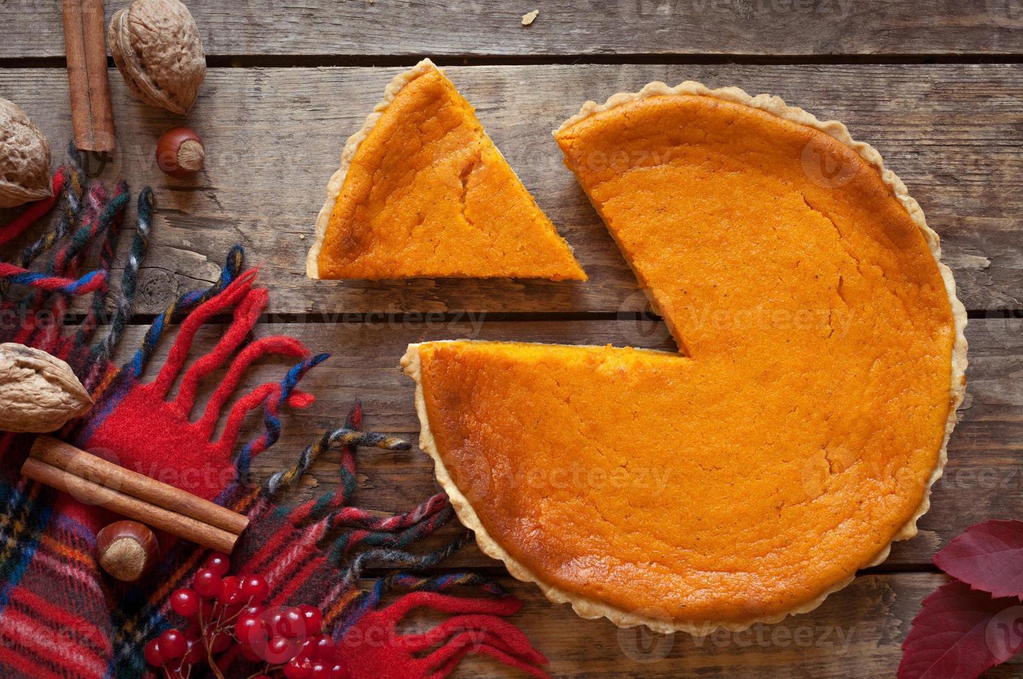 Sweet delicious natural pumpkin tart pie dessert sliced on vintage photo