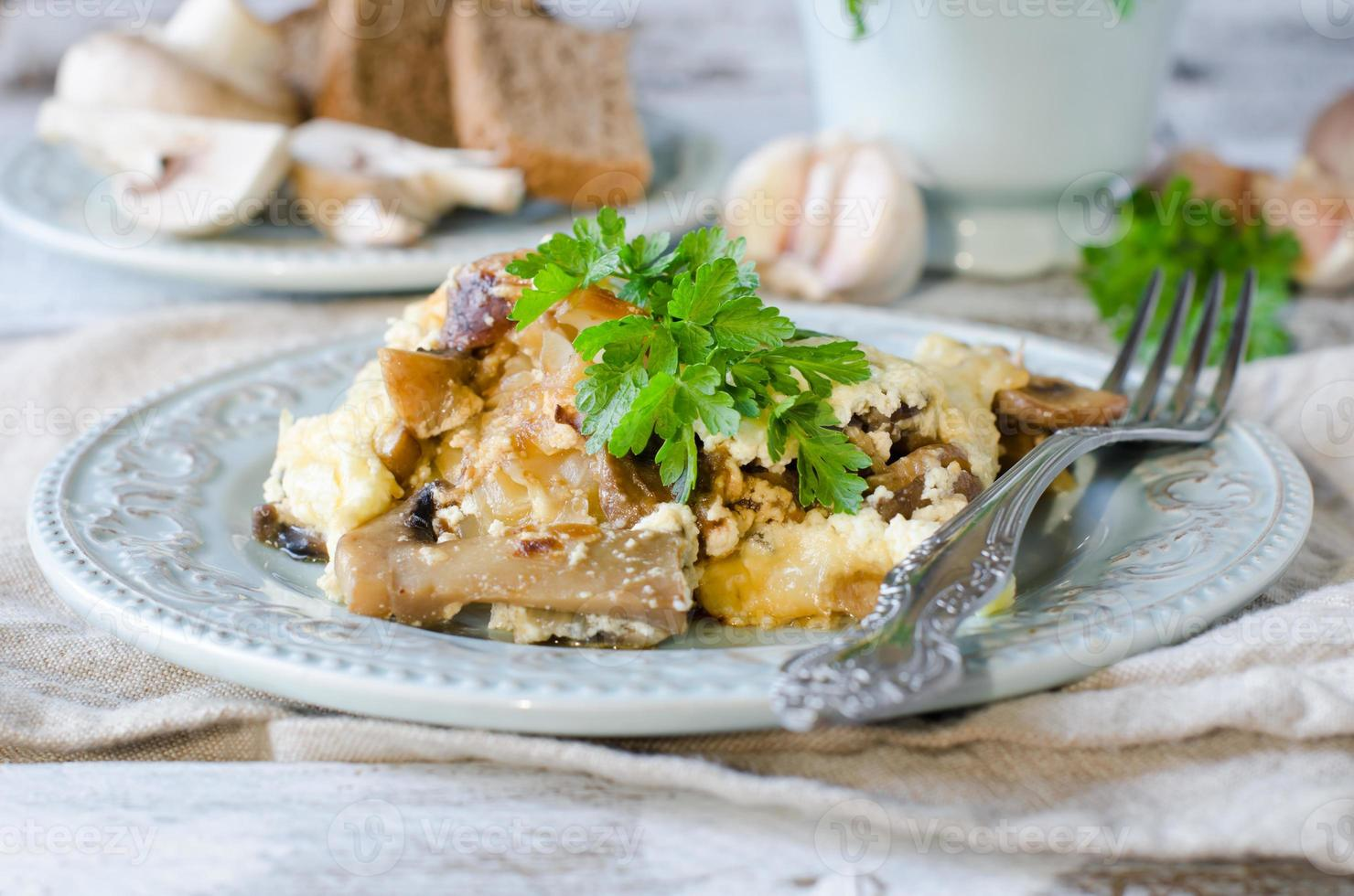 Cabbage and mushrooms baked with cheese photo