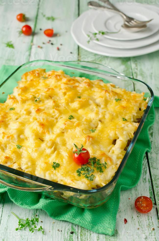 Casserole with pasta and minced meat photo