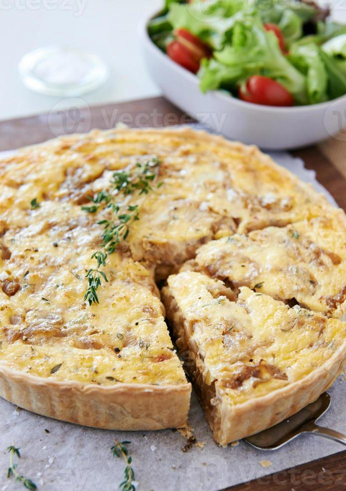 Simple light lunch of pastry pie quiche photo