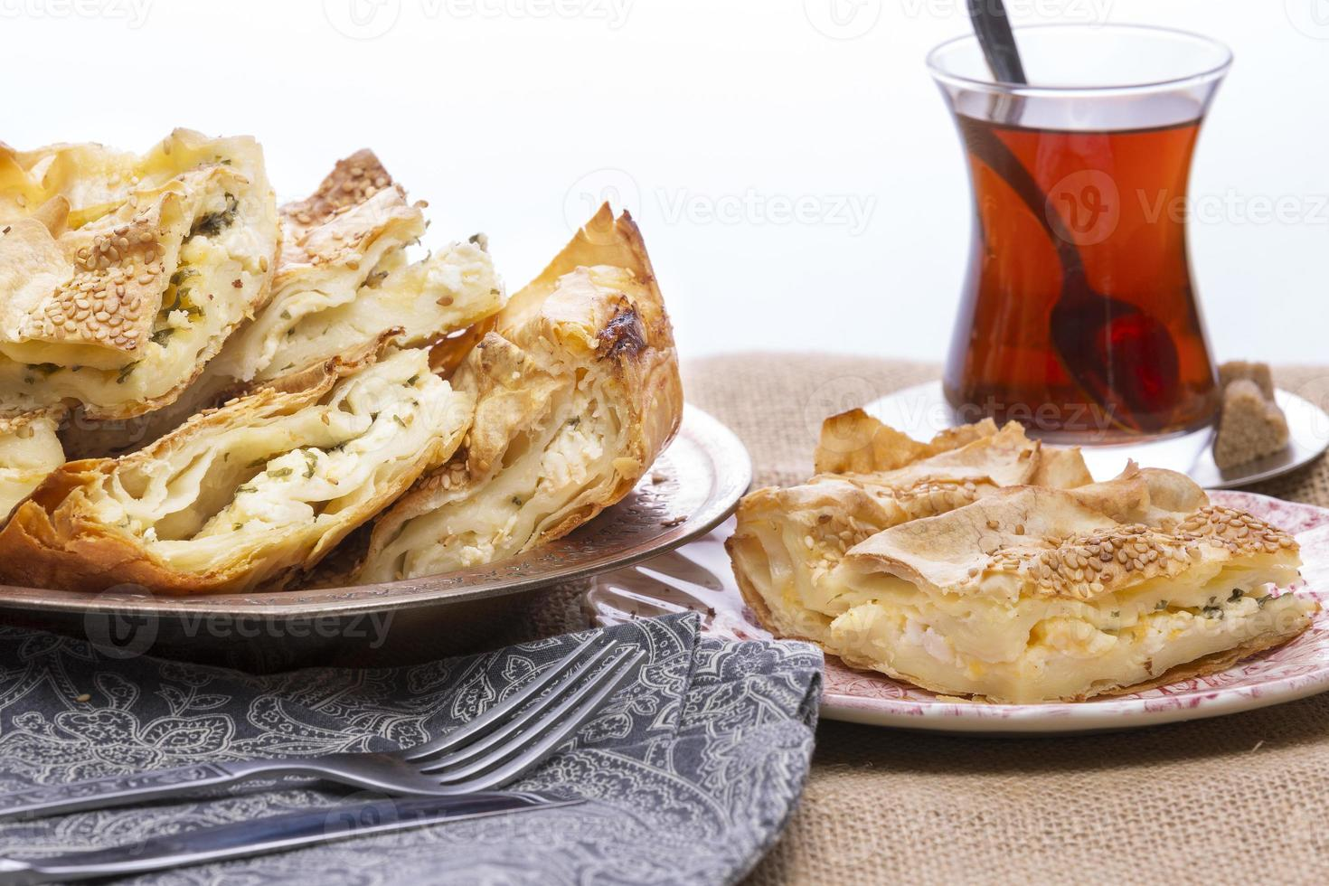 Turkish borek served at a party photo
