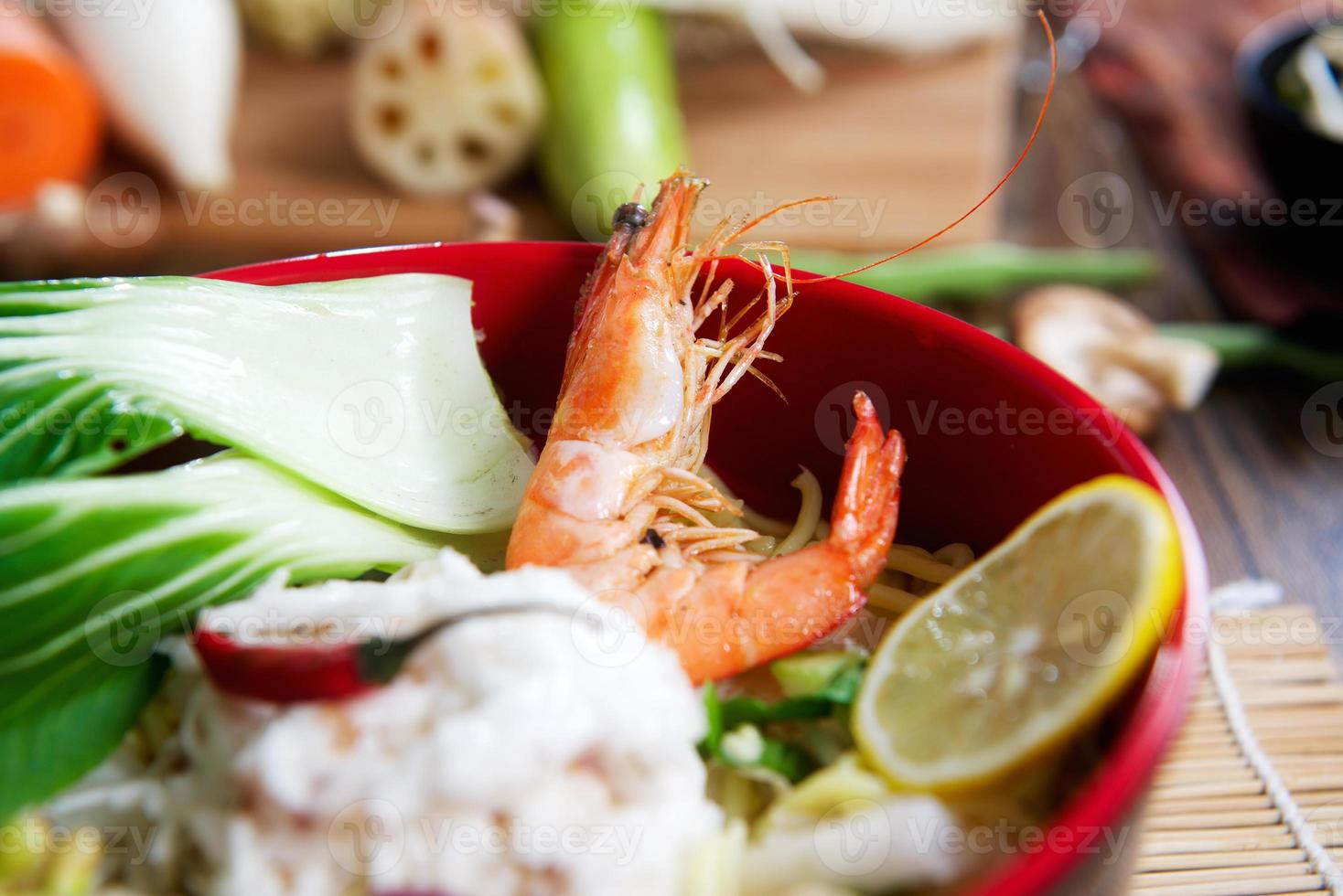 Seafood noodles closeup photo