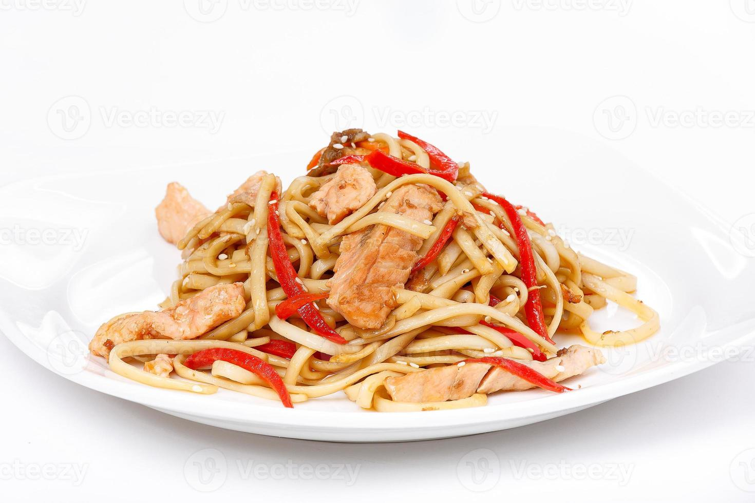 Noodles with chicken photo
