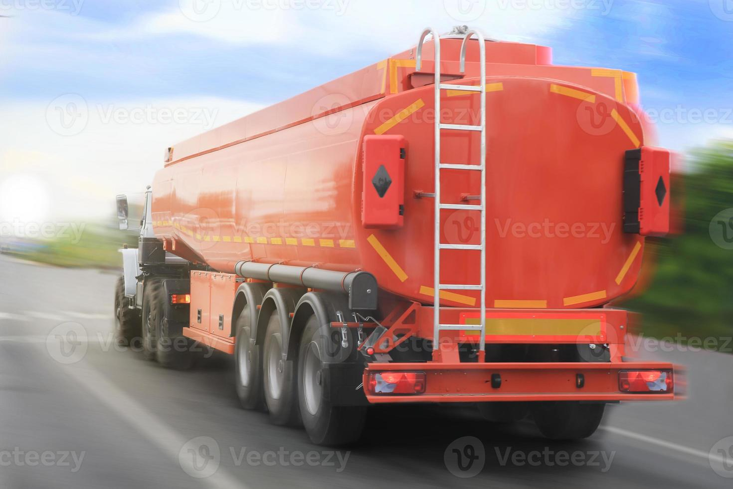 gas-tank truck goes on highway photo