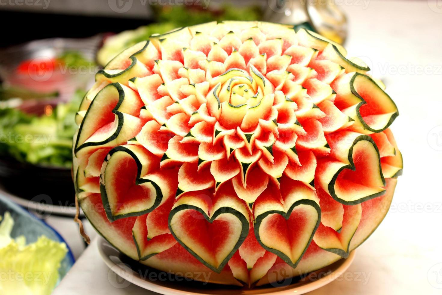 Closeup the art of watermelon carving fruit photo