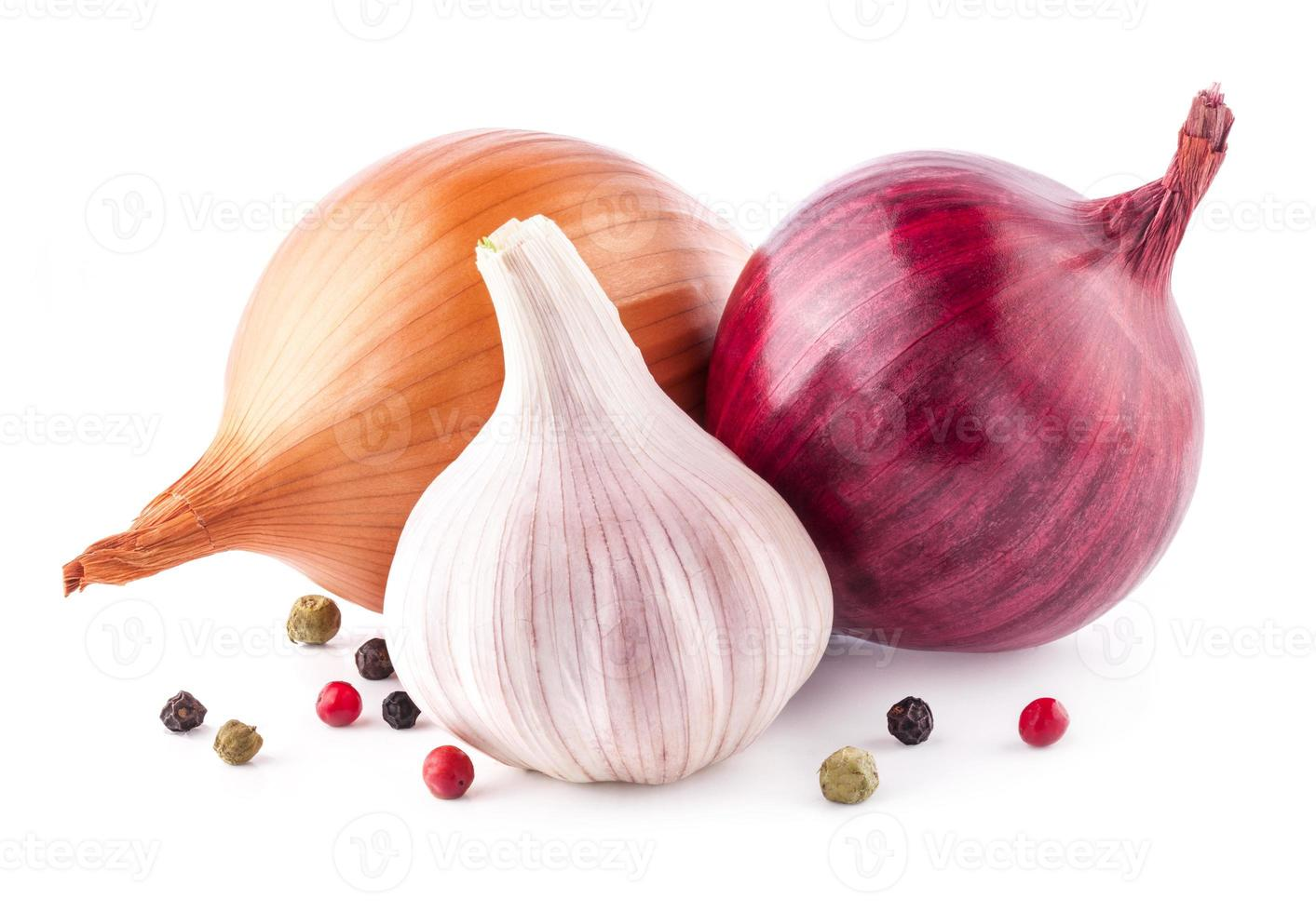 Garlic and onion with parsley photo