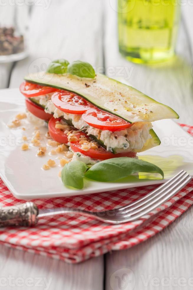 Italian appetizer of vegetables and cheese photo