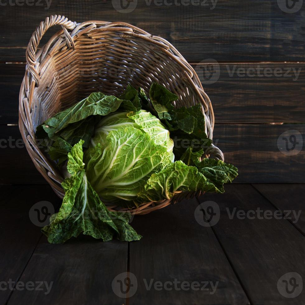 cabbage in a basket, rustic photo
