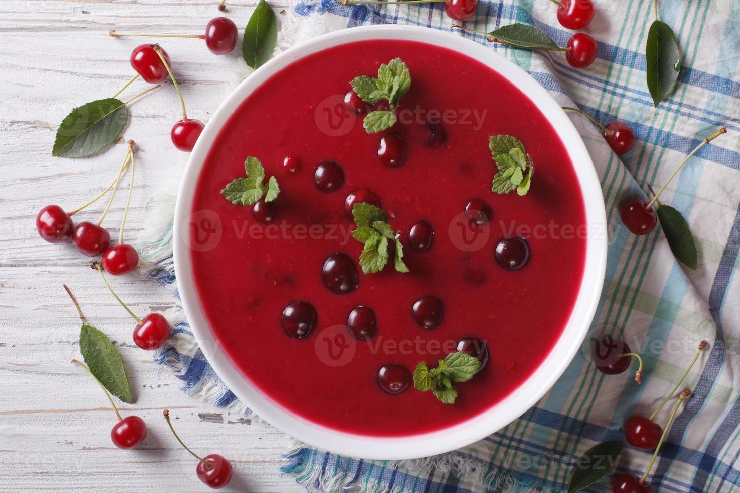 Sopa crema de cerezas con primer plano de menta. vista superior horizontal foto