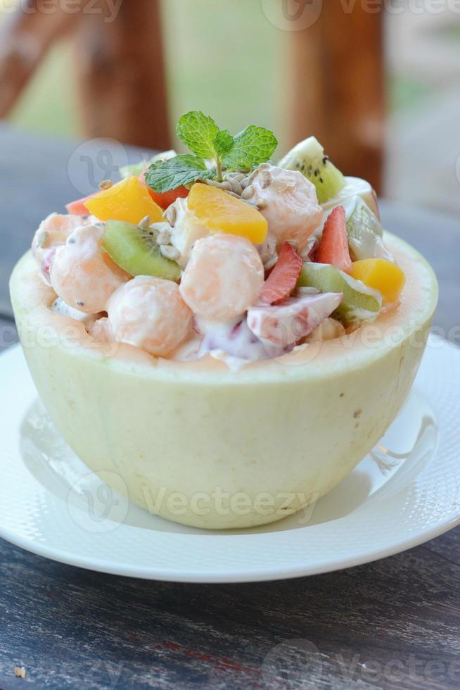 Fruit Salad in Cantaloupe Bowl photo