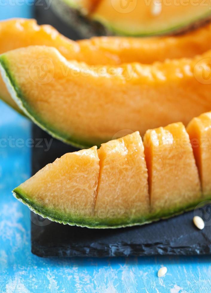 Cantaloupe melon slices. photo