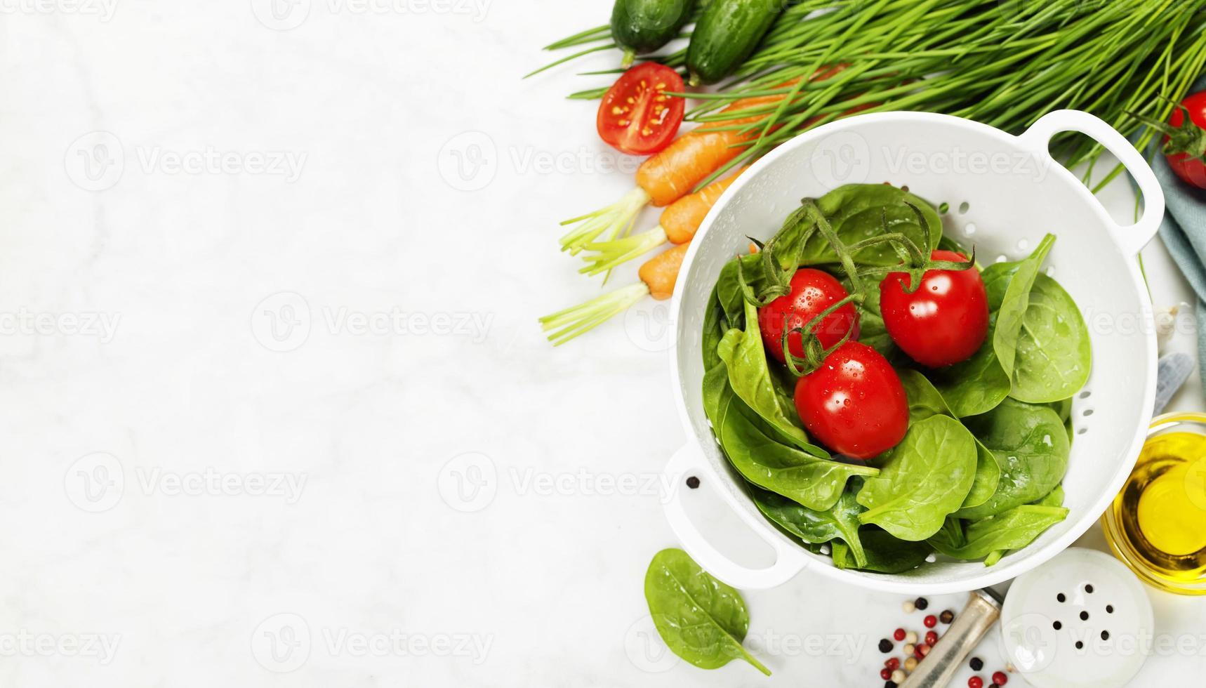 fresh organic garden vegetables in colander photo