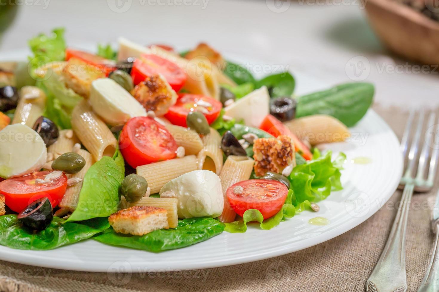 Healthy spring salad with vegetables photo