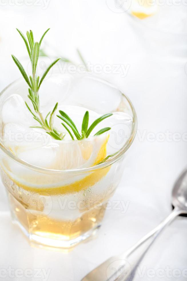 ginebra, limón, fizz de romero, cóctel foto