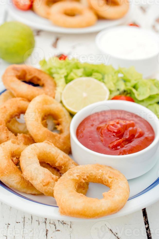 Fried squid rings photo