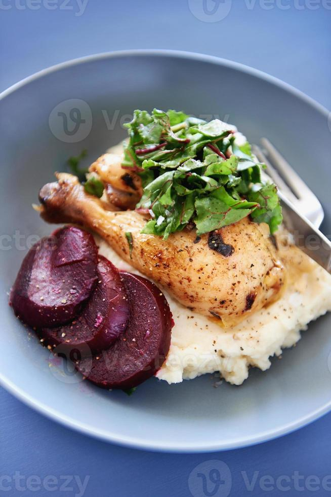 Roast chicken meal with vegetables and mash potato photo