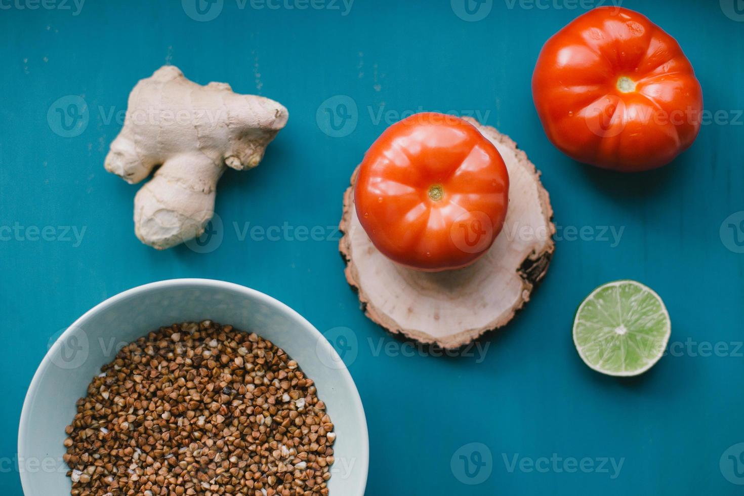 Food ingredients on blue background photo