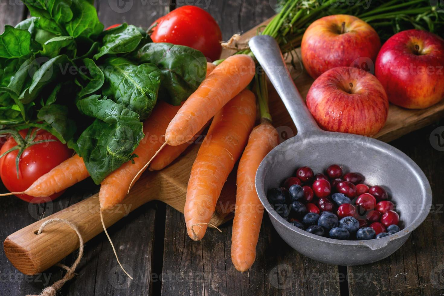 Mix of fruits, vegetables and berries photo