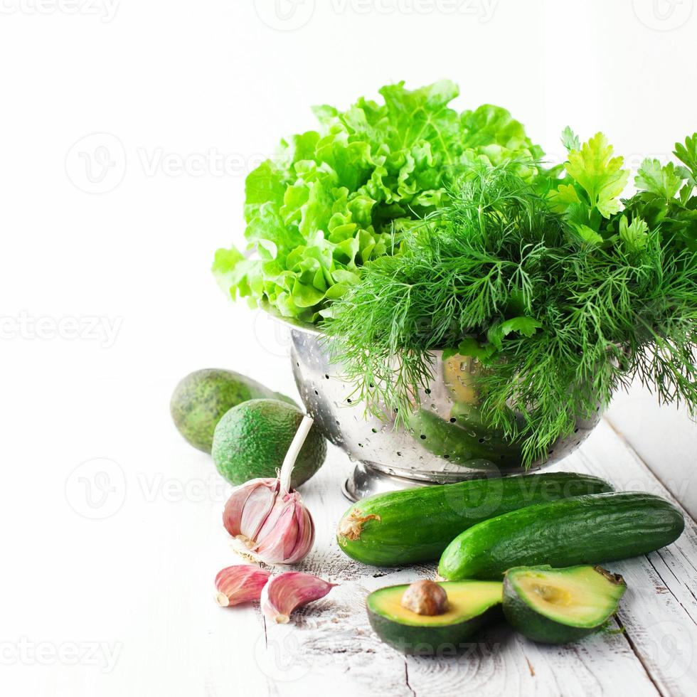 Mix of green vegetables photo