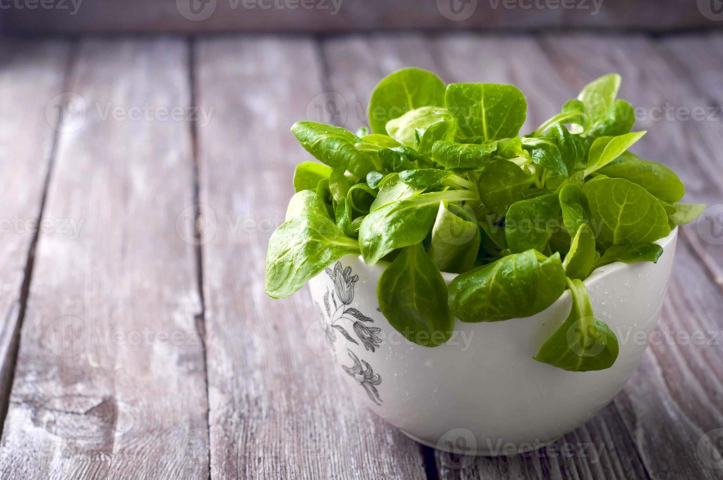 Fresh green salad with spinach photo