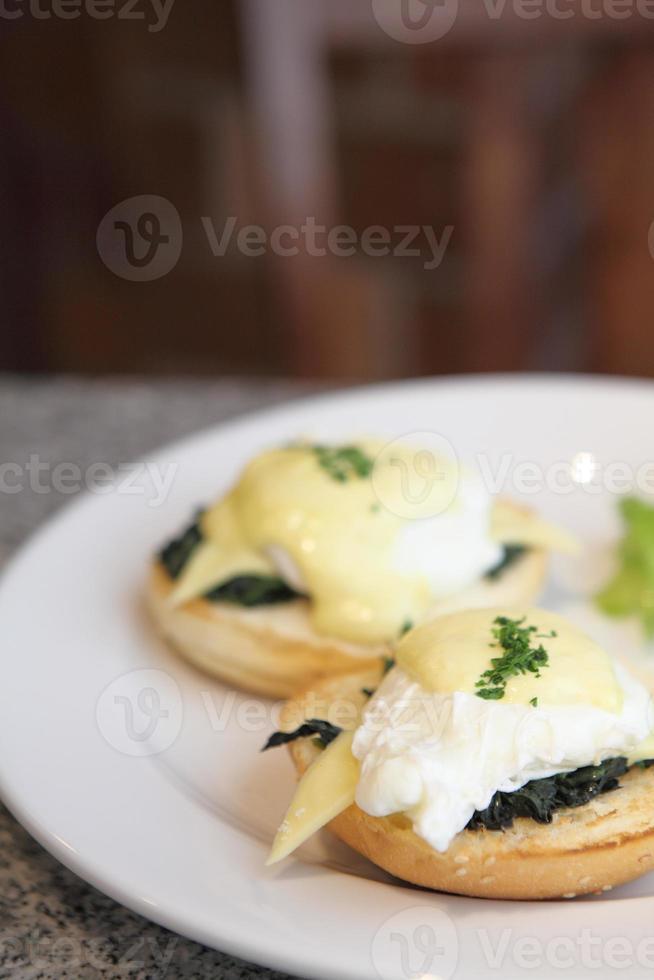 Close-up of eggs benedict photo
