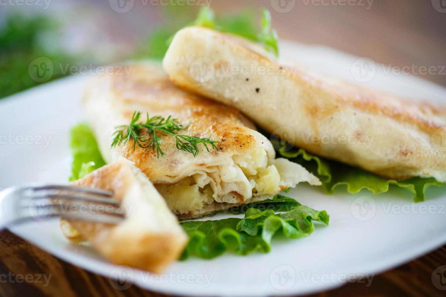 fried stuffed spring rolls on a plate photo