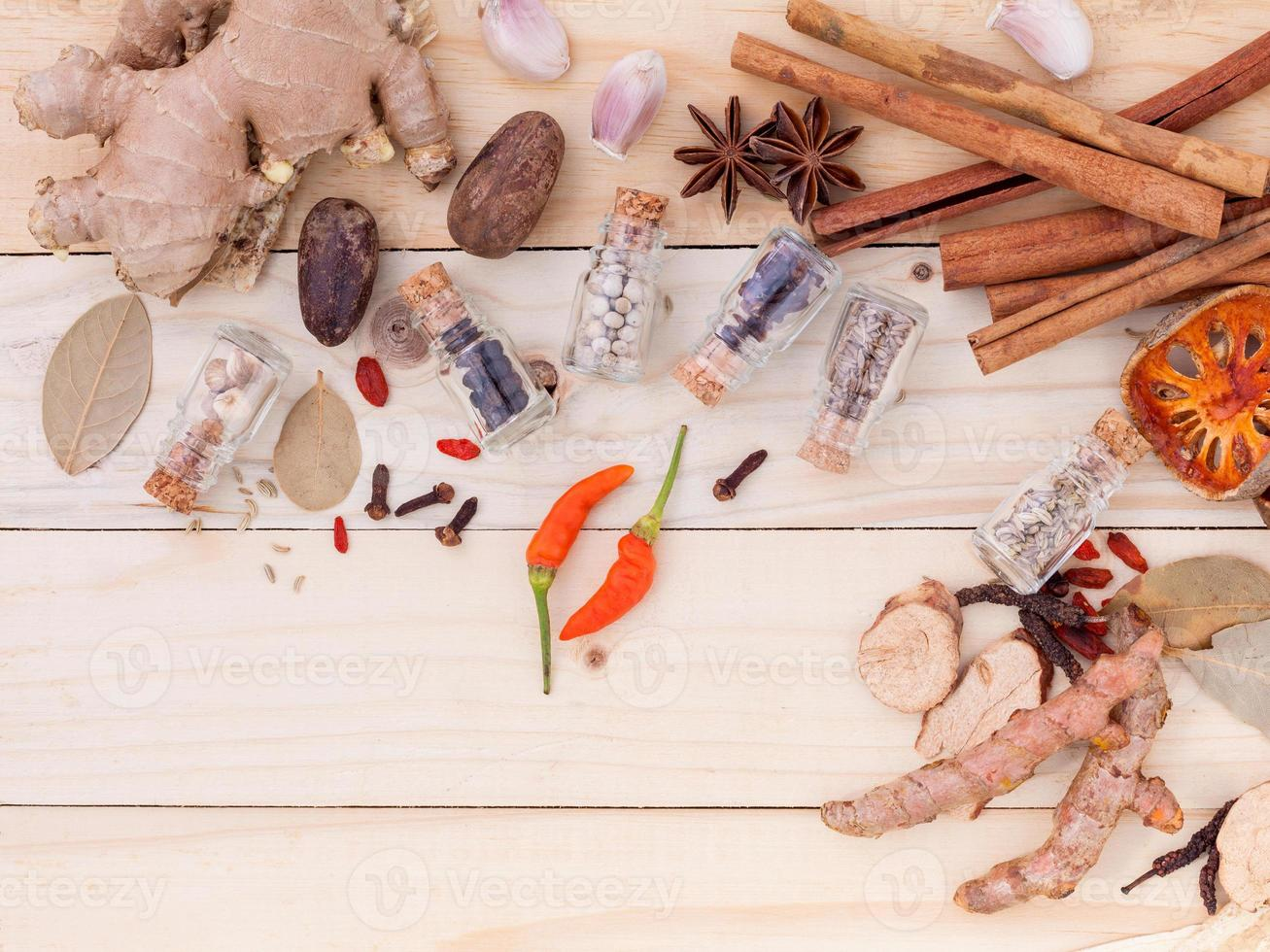 Assortment of Thai food Cooking ingredients in glass bottles . photo