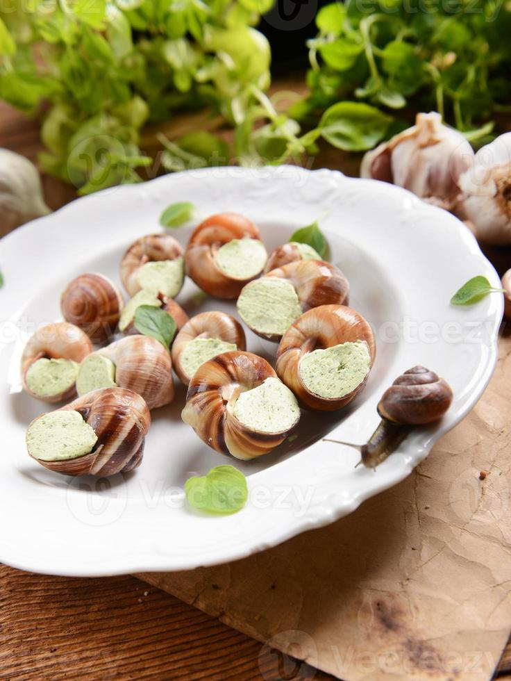 snails with garlic butter photo